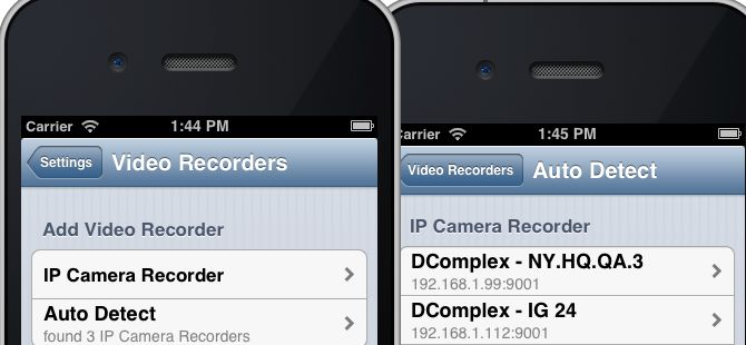 Auto-detect IP Camera Recorder from iPhone
