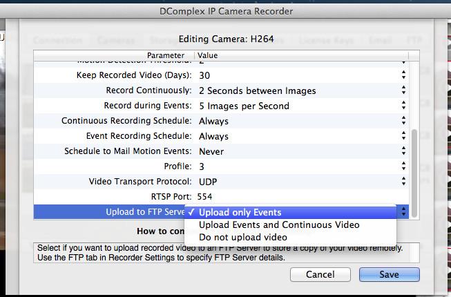 Camera FTP Configuration